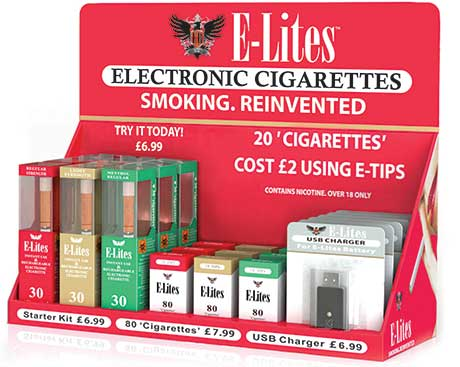 """E-Lites is made with both the retailer and consumer in mind and is intended to look as realistic as possible, CEO Adrian Everett said. One E-Lites set-up provides for between 30 and 40 cigarette-style """"smokes"""", which works out at around £2 for the equivalent of 20 cigarettes for the consumer while delivering high margins for the retailer, he added."""