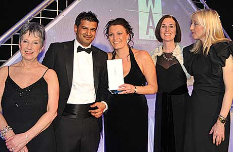 The Best Marketing Initiative Award won by United Wholesale (Scotland) and sponsored by Mars Chocolate. From left to right: Kate Salmon; Asim Sarwar, managing director, United Wholesale (Scotland); Sarah Lowry, projects manager, United Wholesale (Scotland); Frances Butler, business unit controller, Mars Chocolate; and Cathy Macdonald.