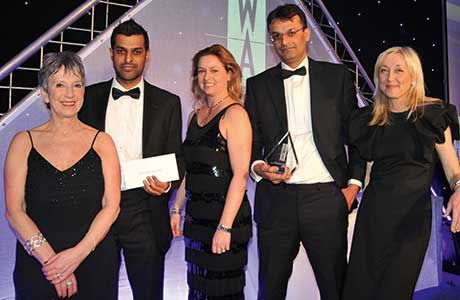 The Best Cash & Carry Award won by United Wholesale Grocers and sponsored by Britvic Soft Drinks. From left to right: Kate Salmon; Nabeel Ramzan, managing director, United Wholesale Grocers;  Clare Bocking, commercial controller impulse, Britvic Soft Drinks; Waqas Baddar, trading director, United Wholesale Grocers; and Cathy Macdonald.