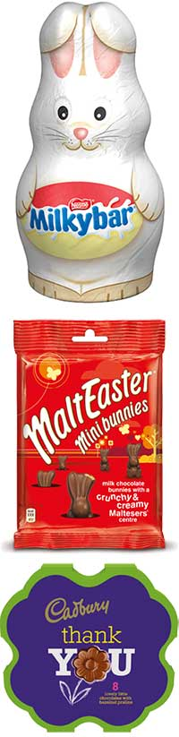 Mars has added a MaltEaster mini bunnies pack to its range for Easter 2013.  Boxes of mini flower-shaped chocolates are part of the Mondelez spring range this year.  And Nestlé has introduced a Milkybar bunny to its Easter selection.