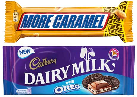 Mars Chocolate UK recently added two limited-edition lines to its range - Snickers More Caramel and Snickers More Nuts. Mondelez introduced Cadbury Dairy Milk with Oreo.