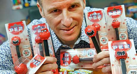 Chris Howarth, managing director of Bon Bon Buddies. The Pez dispensers are being launched in support of this year's Comic Relief Red Nose Day.