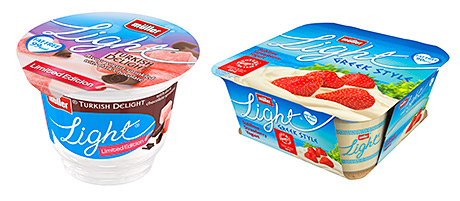 The Müllerlight range gets a new look with a hand-written typeface and bigger pictures of ingredients.