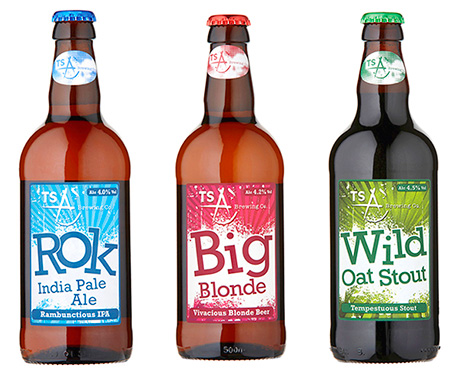 The modern ale range from TSA. Big Blonde is a lager style beer, Rok is an IPA and they're joined by Wild oat stout. They're aimed at 25-35 year-olds.