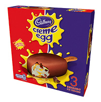 Cadbury Creme Egg stick  was one of a series of seasonal, brand licensed ice cream lines produced by Fredericks ahead of Easter.