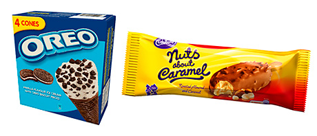 Latest addition to the Fredericks range of  brand-licensed ice cream products is Oreo. The firm also produces many ice-creams based on Cadbury's chocolate bar brands as well as brands from Del Monte, Britvic, Barratt, Vimto and Lyle's Golden Syrup.