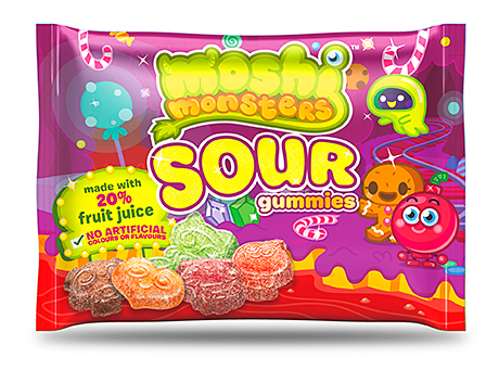 Bazooka Candy Brands added Moshi Monsters Sour Gummies to its range earlier this year. Price-marked packs of Big Baby Pop and Juicy Drop Pop have also recently been introduced.