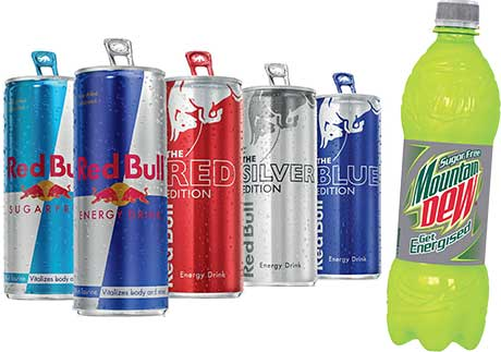Energy options: Red Bull introduced its Editions – flavoured versions – earlier this year. And last month Mountain Dew reckons it was first to market with sugar-free energy in a PET pack.