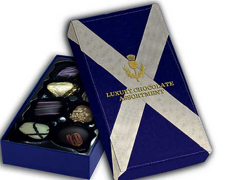 Premium, boxed chocolates from House of Dorchester's visitor-oriented Saltire range.
