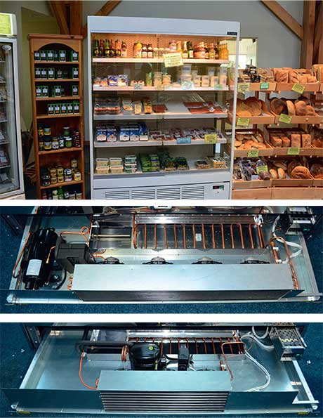 The Apollo multi-deck chiller with sliding doors, top right. The lower pictures on the right show one of the reasons costs fall with doors fitted. In the middle picture is the engineering tray used in the running of an Apollo unit without doors. The lower picture shows the much smaller configuration required when the unit is supplied with doors.