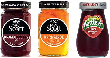 """R&W Scott's 340g Scottish Favourites range has been redesigned with a new look intended to look fresh and modern and to stress the product's Scottish heritage. """"The spreads and preserves category presents a fantastic profit opportunity,"""" said Nigel Parrott, of Hain Daniels'  the new owner of Hartley's, Robertson's, Sun-Pat, Gale's and other spreads brands. Nutella owner Ferrero says the value of the hazelnut spread's sales grew to £31.8m over the year to January."""