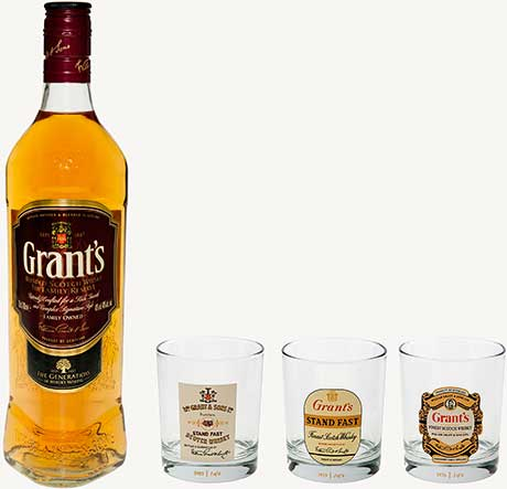Gift packs of Grant's whisky and Three Barrels brandy. The RRP remains the same, £16.49, for both brands.
