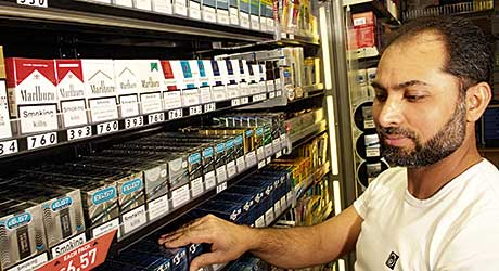 Small stores will have to comply with the tobacco display ban from 6 April  2015. Until then they have a tobacco marketing advantage over large stores such as supermarkets who were required to implement the  ban in late April this year.