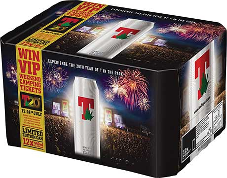 Tennent's lager is celebrating 20 years of partnership with the music festival T in the Park this summer. Distinctive cans and a multipack competition are part of the marketing mix.