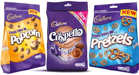 Products from the extensive range of Cadbury chocolate snacks sharing bags. Bagged chocolate lines are now worth just under £370m and showed year-on-year growth of just under 16%, more than three times the overall market figure, said Cadbury brand owner Mondelez International.