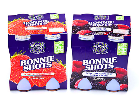 Scotland's only home-produced low-fat yogurt drinks, Rowan Glen's Bonnie Shots, are advertised on TV by comedy cows Gwen and Jen.