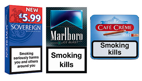 Sovereign Blue Superkings from JTI, one of the increasing number of brands available in 19s and designed to hit attractive price points and to be merchandised in PMPs. Marlboro Ice Blast one of the latest capsule cigarettes, newly launched by Philip Morris. And Café Crème Blue from Scandinavian Tobacco Group, the firm says major brands, cheapest products and products with a very distinct niche are doing best at present. Its cigar range also includes the value line Moments.
