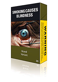 A tobacco industry mock-up of how standardised packaging might change the look of cigarette packs. A new report from the Centre for Economic Business Research suggests many small independent retailers would close if standardised packaging were introduced.