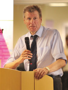 Justice secretary Kenny McAskill gives the keynote speech as the Edinburgh East Community Alcohol Partnership is launched.