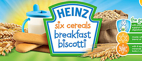 BISCOTTI for babies' breakfasts is one of the innovations in Heinz's infant range. There are also pots of porridge and fruit and improved cereal recipes.
