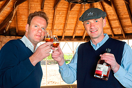 William Wemyss of Wemyss Malts and Douglas Clement, founder director, Kingsbarns Distillery toast the start of the build at Kingsbarns Distillery, in Fife.