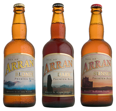 Three of the best-sellers from the extensive Arran Brewery ales range   – Blonde, Dark and Sunset.