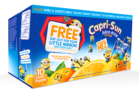 Capri-Sun has teamed up with this summer's holiday must-see, Despicable Me 2. There is a holiday competition on the 10-pouch pack.