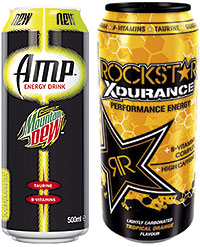 Amp from Mountain Dew contains more caffeine than the original, plus B vitamins and taurine.. Rockstar, the energy drink marketed by AG Barr, is adding a new flavour to its Xdurance variety - Rockstar Xdurance Tropical Orange.