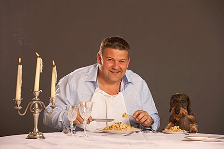MPM's Julian Bambridge and his dog Ollie do dinner together. Ollie's Encore dog food is available in wet and dry varieties. Pedigree's PMPs appeal to more traditional wet food purchasers, who appreciate the reassurance of a price on the pack.