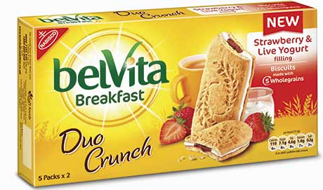 Belvita Breakfast has launched new flavours such as Strawberry & Live Yogurt Duo Crunch.