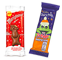 Mars' Merryteaser, a Malteser-filled chocolate reindeer designed as a festive treat. Cadbury's Freddo has  Christmassy knitted packaging and added popping candy.