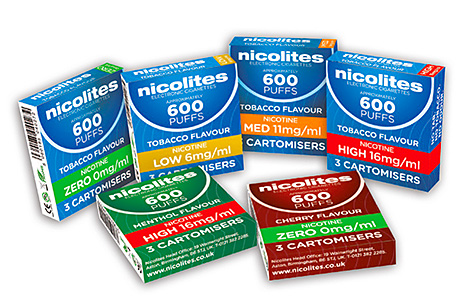 Nicolites – available in a full range of nicotine strengths (high, medium, low and zero) and in tobacco, menthol and cherry flavours. The brand plans a major marketing push from later this month.