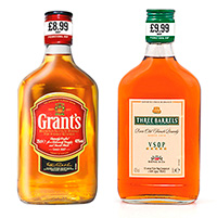 The new 35cl, price-marked packs of Grant's and Three Barrels, which have been designed with the convenience market in mind. First Drinks says the new packs will drive impulse sales, with many consumers likely to look upon them as special promotions.