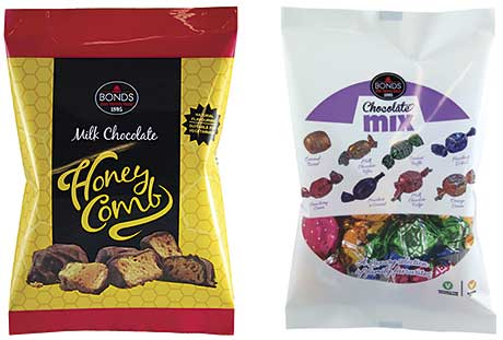 Pwinkies is the latest addition to the Bonds Confectionery bagged-confectionery range, which also includes: the Milk Chocolate Honeycomb bag; the Chocolate Mix bag and others.