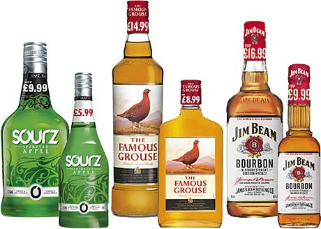 Some of the PMP products released this year by Maxxium UK, including Scotland's biggest selling whisky The Famous Grouse, Jim Beam White and the speciality spirit Sourz. The drinks marketer and distributor also released Teachers whisky in a price-marked pack.