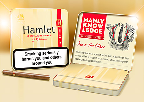 Hamlet Miniatures 10 tins are available in four different limited-edition packs – featuring Manly Knowledge advice inside the lid. The packs are available nationally from the beginning of this month.