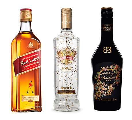 Johnnie Walker Red Label, back in the UK marketing high life with a £7.2m campaign. Smirnoff Gold - with edible gold. And Bailey's Chocolat Luxe. All three are prime brands  in Diageo's Christmas 2013 activity.