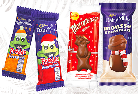 """Scott Graham introduces Christmas lines designed as """"self-eat"""" treats ahead of the Christmas season. School children buy the festive offerings from major brands like Cadbury Dairy Milk and Maltesers well ahead of the festive period, he finds."""