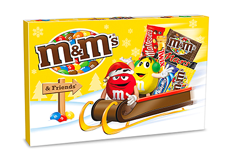 Selection boxes and tubes of recognised brands provide gifts for children and others. The year the M&M's and M&M's &Friends lines  feature brightly coloured packs.