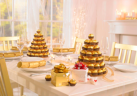 The Ferrero Rocher pyramid provides a table centrepiece to be shared.