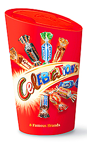 The Celebrations brand from Mars comes in a range of sizes and pack styles.