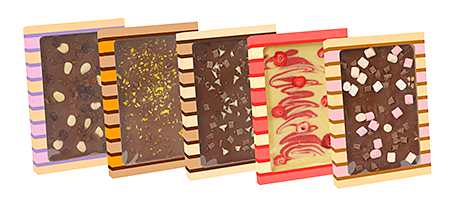 Luxury chocolate blocks with colourful toppings from Hancocks