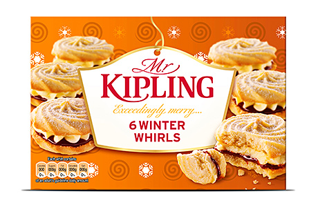 Premier Foods hopes Mr Kipling Winter Whirls, complete with spangled packaging and a spiced jam and buttercream filling, will be a festive hit.