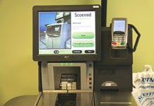 The new self -scan checkouts being introduced in four of Scotmid's Edinburgh stores. If the pilot project proves successful the tills will be introduced in more stores next year.
