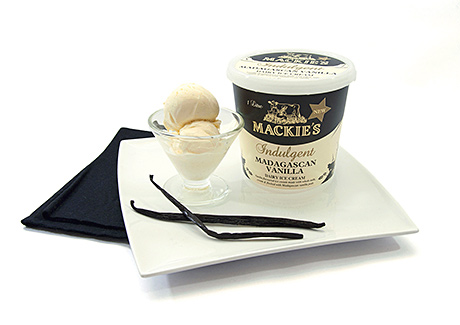 One of Mackies' new indulgent flavours, above, launched earlier this year, is made with Madagascan vanilla.