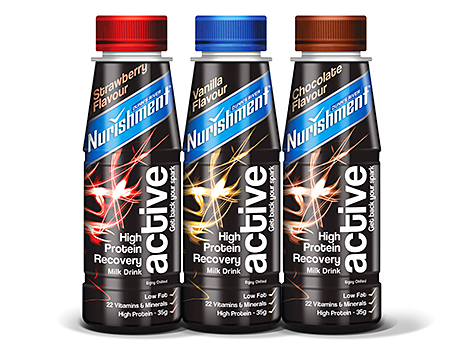 Nurishment, a low-fat, milk-based drink designed to be consumed after sport or vigorous exercise.