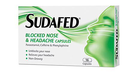 One of Sudafed's multi-functional products, combining a decongestant with paracetamol to tackle a headache.