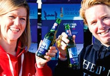 Lizzie Neyland and Jonathan le Galloudec of Help for Heroes with new Help for Heroes endorsed Tennent's Original Export.