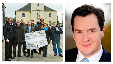 Left, The Lanark Business Group launches the buy local scheme, Totally Lanark. Right, Chancellor George Osborne took a penny a pint off beer duty.