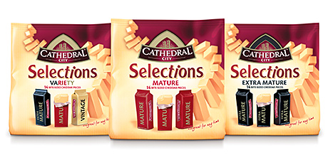 Cathedral City's Selections, offering an established brand of cheddar in individual portions for lunchboxes and snacking.